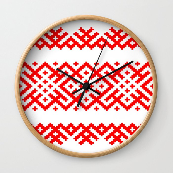 Pattern - Bogoroditsa - Slavic symbol Wall Clock