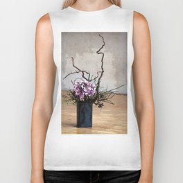 Hydrangea and Wood Vase Watercolor Biker Tank