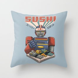 Super Sushi Robot Throw Pillow