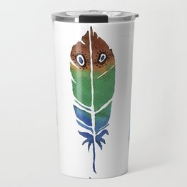 """Watercolor Painting of Picture """"Decorative Feathers"""" Travel Mug"""