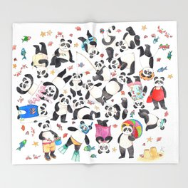 Panda mess Throw Blanket