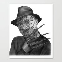 freddy krueger Canvas Prints featuring Freddy Krueger by axemangraphics