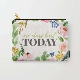 No Day But Today Stripey Watercolor Floral Carry-All Pouch