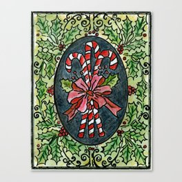 Candy Canes and Holly Canvas Print