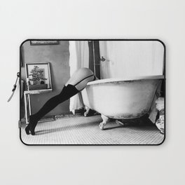 Head Over Heals - Female in Stockings in Vintage Parisian Bathtub black and white photography - photographs wall decor Laptop Sleeve