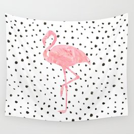 Flamingo Art print, Pink, Glam, Dalmatian, Tropical, Nursery, Living Room Wall Tapestry