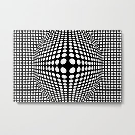 Black And White Victor Vasarely Style Optical Illusion Metal Print
