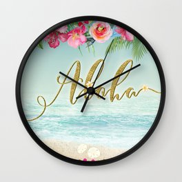 Golden Aloha Wall Clock