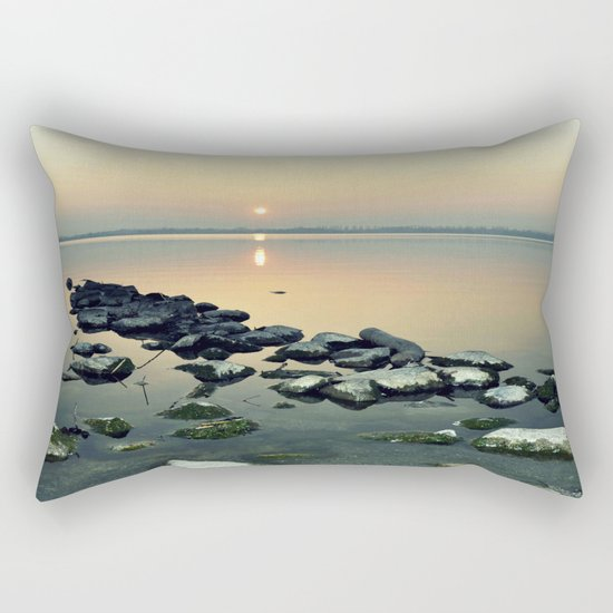 sunset sea stones Rectangular Pillow