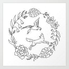 Fox and Loon Playing in Floral Wreath Design — Floral Wreath with Animals Illustration Art Print