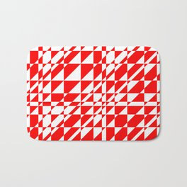 Geometric Red and White Bath Mat