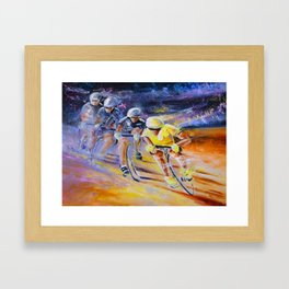 Defying Time In A Yellow Jersey Framed Art Print