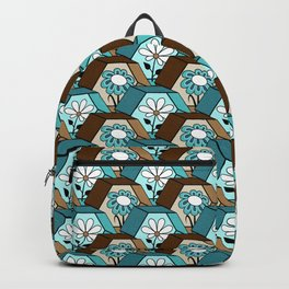 Cute Daisy Flowers in Hexagons - Turquoise, Brown, Khaki, Black and White Backpack