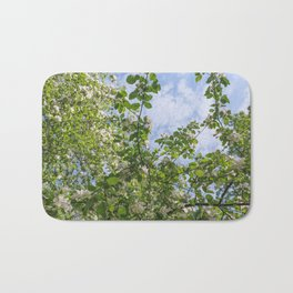 Spring, Apple blossoms, White, Pink Flowers sunlight Retro Pastel Bath Mat
