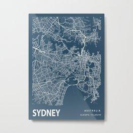 Sydney Blueprint Street Map, Sydney Colour Map Prints Metal Print