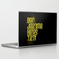 caleb troy Laptop & iPad Skins featuring Ben Jerome Hines Troy / Black by Brian Walker