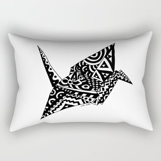 Paper Crane Bird Origami Doodle Rectangular Pillow