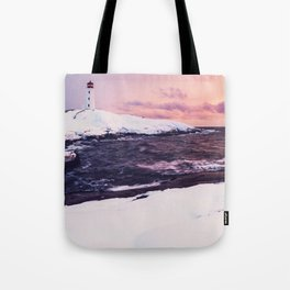 Fresh Snow at Peggy's Cove Lighthouse Tote Bag