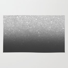 Modern faux silver glitter ombre grey black color block Rug