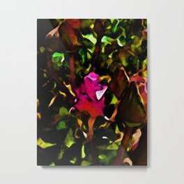 Pink Rosebud in the Shadows of a Bright Day Metal Print