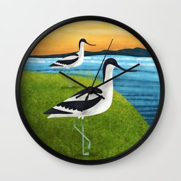 Two Avocets In Suffolk Wall Clock