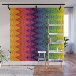 Rainbow waves pattern vertical Wall Mural
