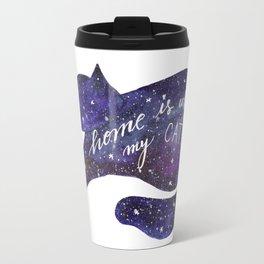 Watercolor Galaxy Cat - purple Travel Mug