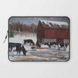 Holstein Dairy Cows in Snowy Barnyard; Winter Farm Scene No. 2 Laptop Sleeve