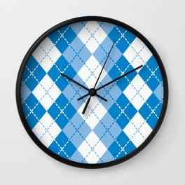 Argyle Design in Blue and White Wall Clock
