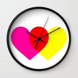 Love hearts (pink & yellow) Wall Clock