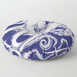 Octopus Tentacles Blue Ink Brushed Floor Pillow