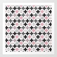 Geometric cross illustration plus sign pattern Art Print