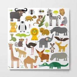 Animal Africa: parrot Hyena Rhinoceros Zebra Hippopotamus Crocodile Turtle Elephant Mamba snake Metal Print