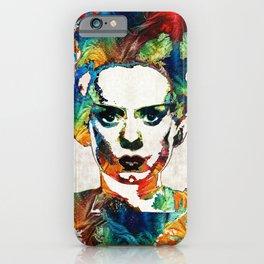 Frankenstein Bride Art - Colorful Monster Bride - By Sharon Cummings iPhone Case