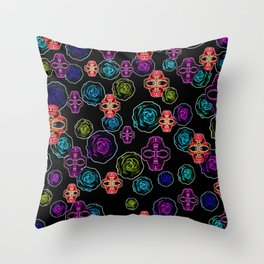 skull art portrait and roses in pink purple blue yellow with black background Throw Pillow
