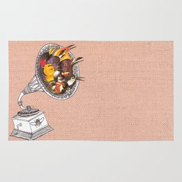 Bird Gramophone Cover Art Rug