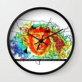 Trump Buffoon Typhoon Warning Wall Clock