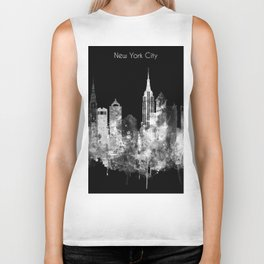 New York City Inverted Watercolor Skyline Biker Tank