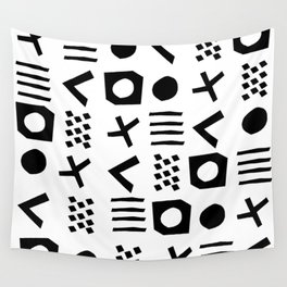 Black and white minimal linocut pattern graphic scandi design Wall Tapestry
