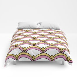 Pink and Gold Art Deco Pattern Comforters