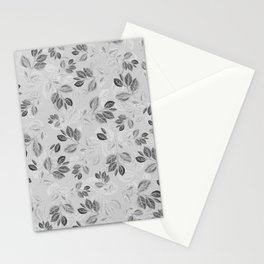 Black and White Leaves Pattern #2 Stationery Cards