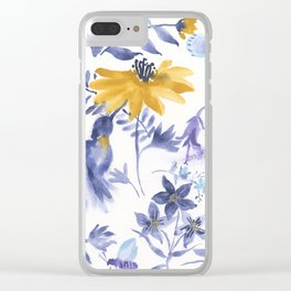 Blue and Yellow Garden Snippets Clear iPhone Case