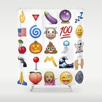 emoji Shower Curtains featuring Emoji  by Life.png