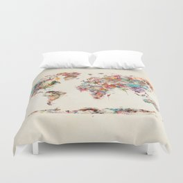 world map watercolor deux Duvet Cover