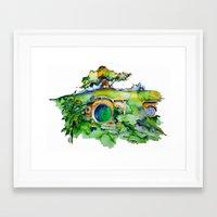the hobbit Framed Art Prints featuring hobbit hole by Jonny Moochie