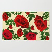 roses Area & Throw Rugs featuring roses  by mark ashkenazi