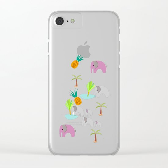 Pink Elephants Clear iPhone Case