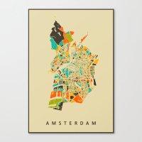 amsterdam Canvas Prints featuring Amsterdam by Nicksman