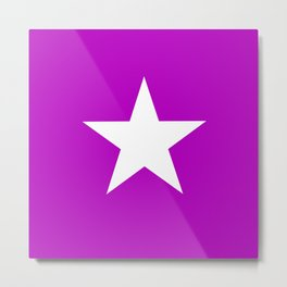 white star on purple background Metal Print