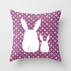 Bunny / Vintage pattern #3 Throw Pillow